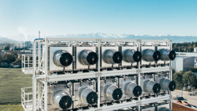 A direct air capture facility in Zurich, created by the Swiss-based technology company ClimeWorks.