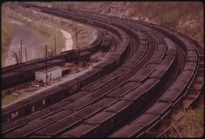Railcars loaded with coal in Danville, West Virginia in 1974. The station was once one of the largest transfer points for coal in the world.