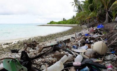 Plastic debris covers the north side of one of the Cocos Keeling Islands in the Indian Ocean.