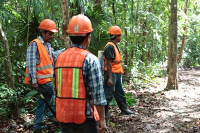 Members of forest communities in the Maya Biosphere Reserve take a break during a fire prevention project.