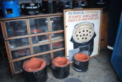 A shop in Goma sells efficient cookstoves that burn half the fuel used in conventional models. Some 76,000 efficient cookstoves are now in use in North Kivu province.