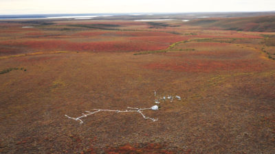 Aerial view of the Trail Valley Creek research station in the western Canadian Arctic, situated along the Mackenzie Delta.