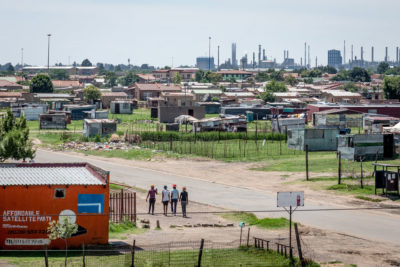 A residential section of Sasolburg in Free State province, with the Sasol One coal-fired power plant looming in the background.
