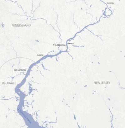 Cleanup efforts for the Delaware River are focused on a 27-mile stretch from Trenton, New Jersey to Chester, Pennsylvania.