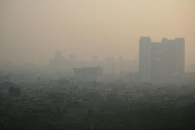 Air pollution in New Delhi in January 2011.