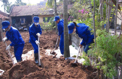 Lead-contaminated soil being removed in the village of Dong Mai, Vietnam.