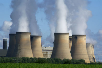 The Drax Power Station, a large biomass and coal-fired power station, in North Yorkshire, England.