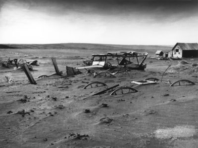 A buried barn lot in South Dakota at the height of the Dust Bowl in 1936.