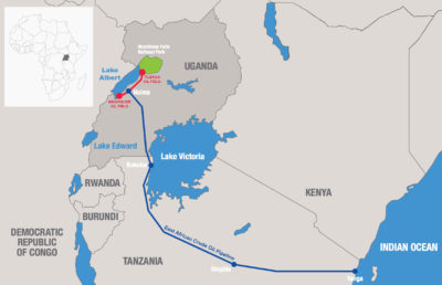 The East African Crude Oil Pipeline will stretch 900 miles from Lake Albert in western Uganda to the Tanzanian port of Tanga on the Indian Ocean.