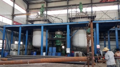 Tanks at a factory in Dacheng, Hebei Province that contain a mixture of spray foam used in insulation.