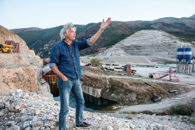 Ulrich Eichelmann, founder of the Vienna-based NGO RiverWatch, at the Kalivaç Dam, which is under construction on the Vjosa River in Albania.
