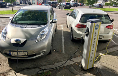 Electric cars at charging station in Storgata, Tønsberg, Norway.
