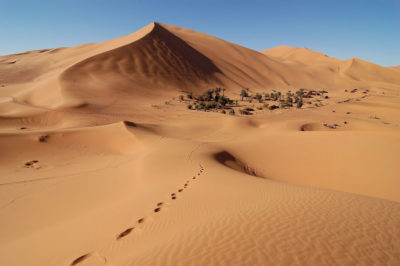 The Erg Chebbi Saharan sand dunes in Morocco.