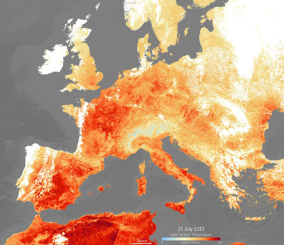 Land surface temperatures during a heat wave in Europe on July 25.