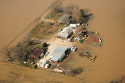 A farm in northeastern Arkansas flooded after torrential rains in 2008.
