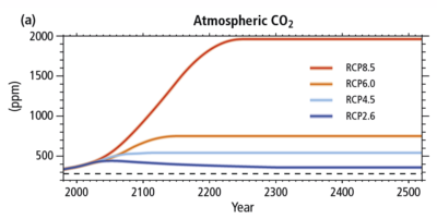 Projected concentrations of CO2 under different emissions scenarios, extending to the year 2500.
