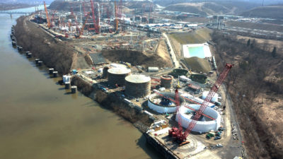 Shell's new ethane cracker plant, seen here on March 12, is located on the Ohio River in Beaver County, Pennsylvania.