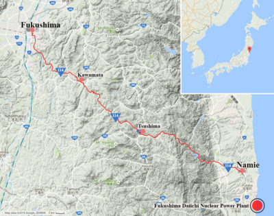 A map tracing Japan's Highway 114 through the Fukushima evacuation zone.