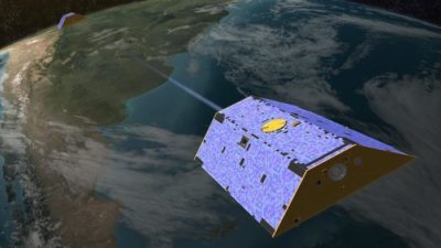 Illustration of the Gravity Recovery and Climate Experiment (GRACE) twin satellites in orbit.