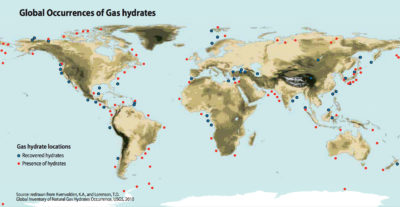 Map of the locations at which gas hydrates have been recovered and or confirmed. Click image to enlarge.