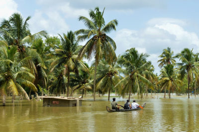 Floodwaters inundated much of Kerala's low-lying coastal plain, including the village of Pandanad, pictured here.