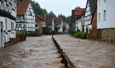 Flooding in the German city of Kaufungen following heavy rainfall in May.