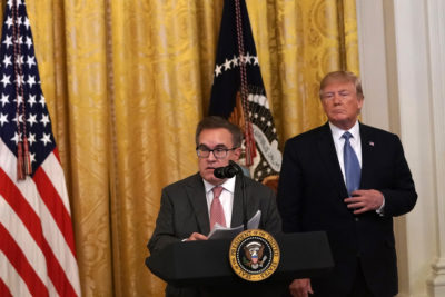 EPA administrator Andrew Wheeler with President Trump. The administration has rolled back, or is seeking to roll back, 95 environmental regulations.