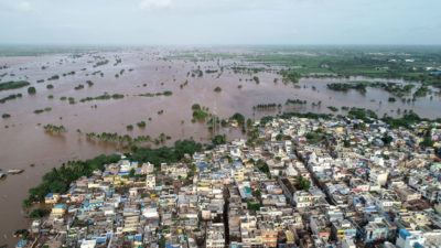 Flooding in the city of Jamkhandi in southwestern India in August.