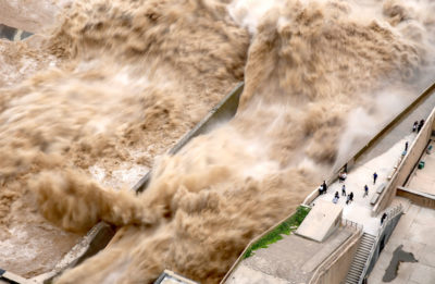 Water is released from the Sanmenxia Dam in Henan Province, China in 2019 to prevent the dam from overflowing.