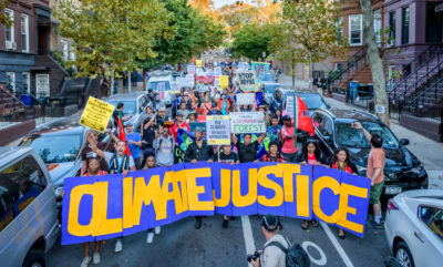 Demonstrators march in Sunset Park, Brooklyn last September in support of community-led climate justice initiatives.