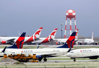 Planes sit idle at Kansas City International Airport on April 3.