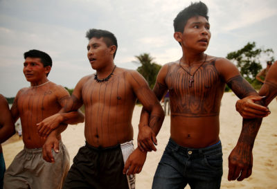 Members of the Mundurukú indigenous tribe protest the planned São Luiz do Tapajós Dam.