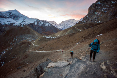 Hikers climb to the Thorung Pass on the Annapurna Circuit, considered one of the most diverse trekking trails in the world.