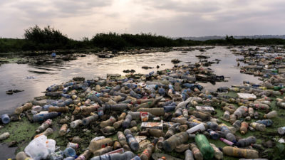 Plastic waste lines the banks of the Makelele River in the Democratic Republic of the Congo.