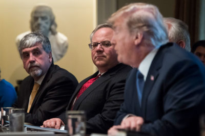 Interior Secretary David Bernhardt, center, was previously a lobbyist for extractive industries active on public lands.