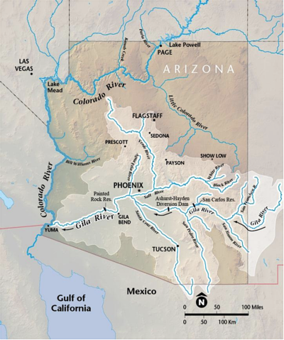 The Gila River runs from the mountains of southern New Mexico across Arizona to the Colorado River.