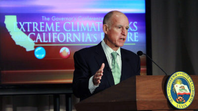 California Governor Jerry Brown speaks at the Governor's Conference on Extreme Climate Risks and California's Future in December 2011.