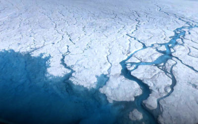 Increased surface melting of the Greenland ice sheet has created vast networks of streams and rivers on top of the ice to carry meltwater to the ocean.