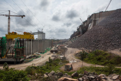 The Belo Monte Dam under construction on the Xingu River, a tributary of the Amazon, in 2014.