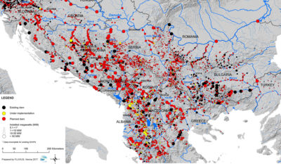 Throughout the Balkan region, some 2,700 hydropower plants are currently under construction (yellow) or proposed (red).