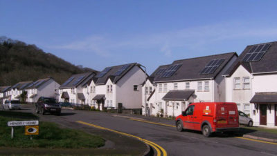 Solar panels on homes in New Quay, Wales.