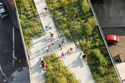 Gardens along New York City's High Line, a former elevated railroad track transformed into a 1.5-mile-long park lined with native and non-native plant species.
