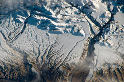 Snow and ice in the Himalayas, near the China–India border.