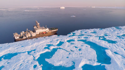 The Kronprins Haakon moored in drift ice off the coast of northeastern Greenland in September.