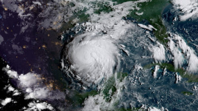 Hurricane Harvey in the Gulf of Mexico on August 24, 2017.
