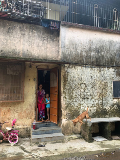 This family had to evacuate its ground-floor home in Badlapur in late July when floodwaters reached the ceiling.