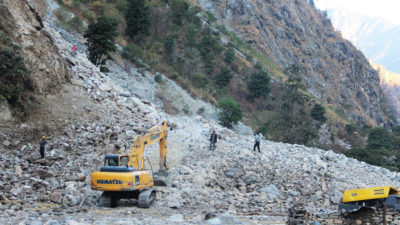 Work on a new road inside the boundary of the Manaslu Conservation Area in November 2019.