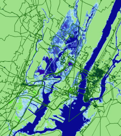 Seawater inundation (blue) projected for New York City by 2033 and its effect on internet infrastructure (dark green).
