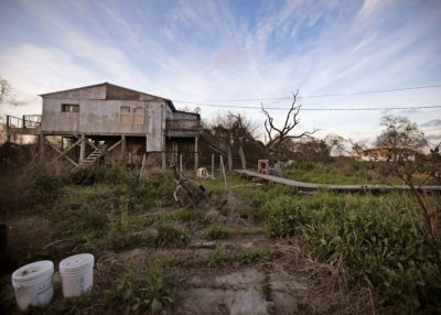 An abandoned house once occupied by Amy Handon and her family, who took the government's temporary housing offer and moved to the nearby town of Houma.