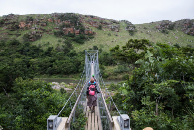 A footbridge over the River Mzamba links the remote villages of Pondoland, South Africa's least economically developed region, with the town of Port Edward.